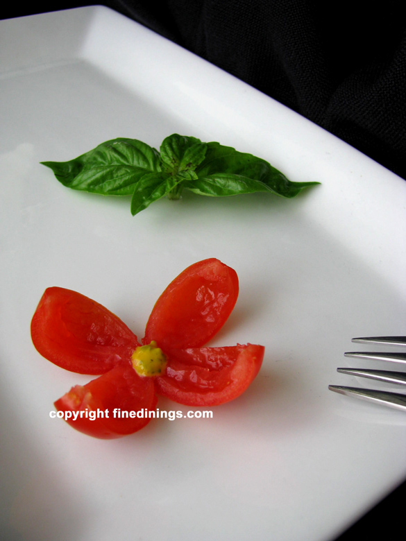 cherry tomato flower garnish