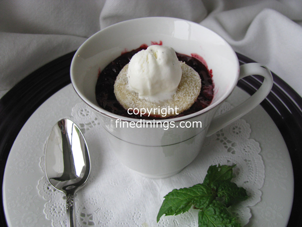Blackberry Pie served in a teacup