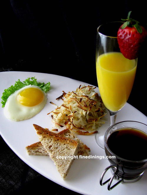 Breakfast menu hash browns egg toast for Fine dining gourmet recipes