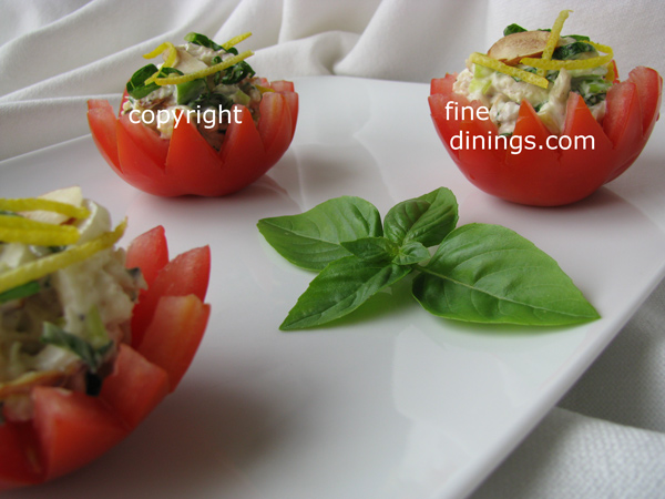 Lemony Chicken Salad in Tomato Cups