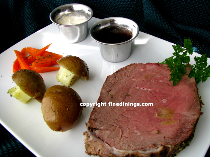 Prime Rib Dinner, How To Cook Prime Rib, 7 Course Prime Rib of Beef Dinner Menu,  Au Jus Recipe (photographs)