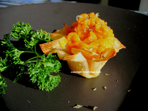Pureed Sweet Potatoes in Wonton Baskets