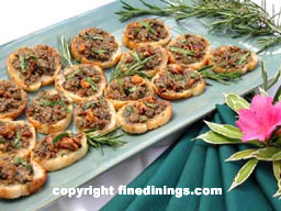 walnut arugula and gorgonzola crostini appetizer