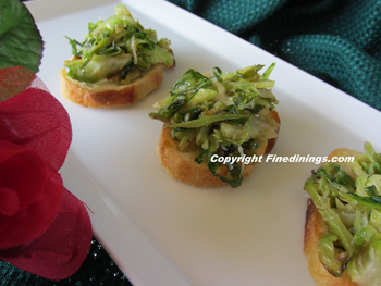 shaved Brussels Sprouts crostini