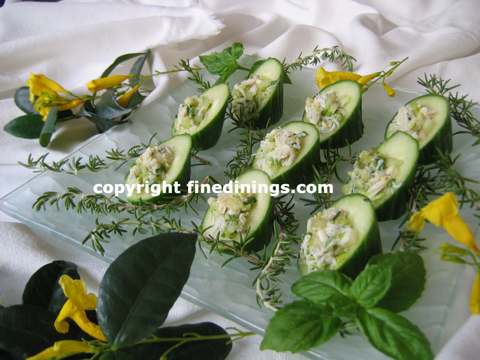 Cucumber Cups Filled with Crab Appetizer