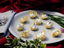 Petite Parmesan Baskets with goat cheese