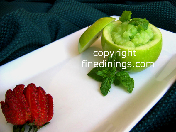 ... To Make Green Apple Sorbet in hollowed out green apple, Gourmet Sorbet
