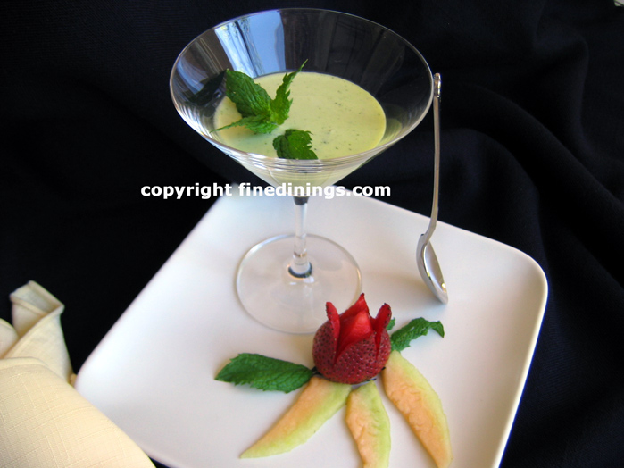 chilled green pea mint soup