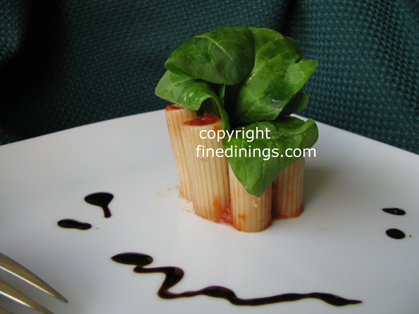 Mesclun Salad with Stuffed Pasta Tubes